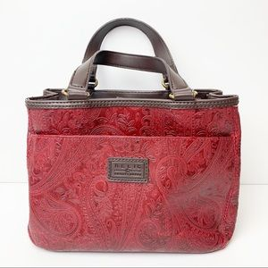 Relic Red Patterned Leather Hand Bag